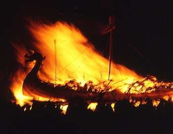 Burning Viking Ship