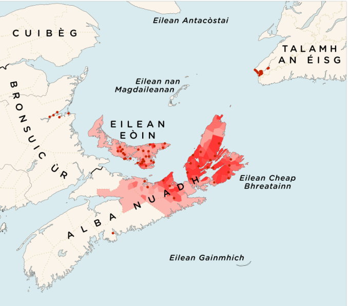 Map of Gaelic Speakers in Canada
