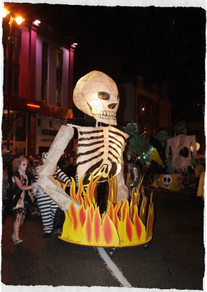 Skeleton costume at Derry Halloween party