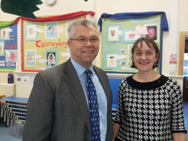 Chairman of the Guernsey Language Commission with Julie Matthews (Head Teacher of Bunscoill Ghaelgagh)