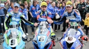 Michale Dunlop centre with Peter Hickman and Dean Harrison