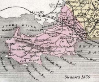 Map of Gower Peninsula 1850