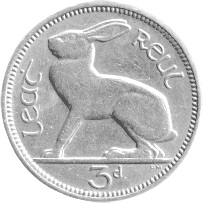 Hare on old Irish three pence