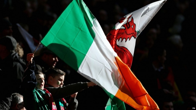 Irish and Welsh flags. Image:BBC Wales