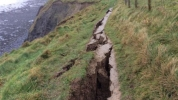 Crack that closed a section of the coast path near Aberystwyth. Picture from Ceredigion Council