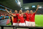 Wales players in EUFA EURO 2016 celebration
